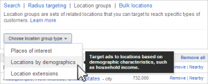 adwords location groups target demographics
