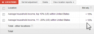 adwords target income levels with bid adjustment