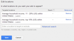 adwords target income levels
