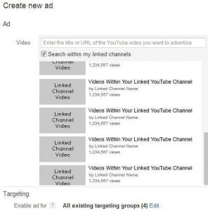 Select a YouTube video for TrueView