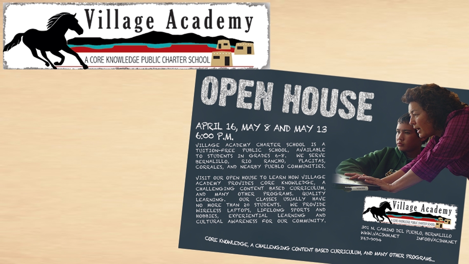 Village Academy Logo and Postcard
